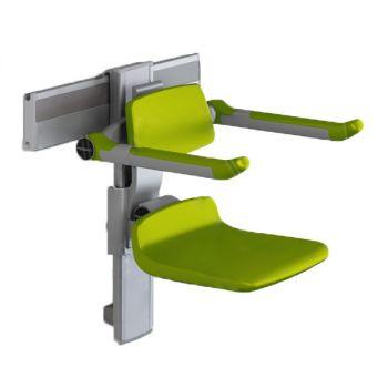 PLUS-เก้าอี้อาบน้ำ310 ปรับสูง+พนักพิงและที่วางแขนสีเขียว รางเทา R73301