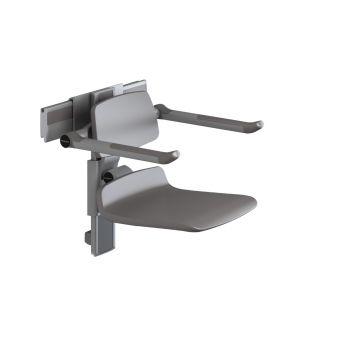 PLUS-เก้าอี้อาบน้ำ450 ปรับสูง+พนักพิงและที่วางแขนสีขาวรางสีANTR7450112